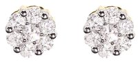 Jewelry Unlimited 14k,Yellow,Gold,Mens,Ladies,Round,Diamond,6mm,Flower,Cluster,Stud,Earrings,12ct