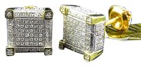 Jewelry Unlimited Mens,Ladies,10k,Yellow,Gold,3d,Cube,9mm,Pave,Diamond,Stud,Earrings,In,1.0,Ct