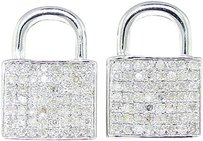Jewelry Unlimited Mens,Ladies,White,Gold,Finish,Diamond,Lock,Shape,Stud,Earrings,10,Mm
