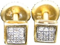Jewelry Unlimited Yellow,Gold,Finish,Round,Cut,White,Real,Genuine,Diamond,Bezel,Stud,Earrings,5,Mm