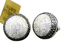 Jewelry Unlimited Mens,Or,Ladies,10k,White,Gold,Blackwhite,Diamond,Domed,Studs,Earrings,1.5,Ct