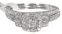 Jewelry Unlimited 14k,White,Gold,Ladies,3,Stone,Halo,Diamond,Engagement,Bridal,Ring,Set,12ct