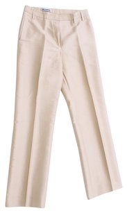 Jil Sander Ivory Slacks Silk Sheen Classic Straight Pants Khaki
