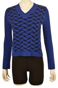 Jil Sander Womens Blue V Neck Textured Wool Long Sleeve Shirt Sweater