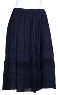 Jill Stuart Jill Womens Med Silk Below Knee Evening Skirt Black