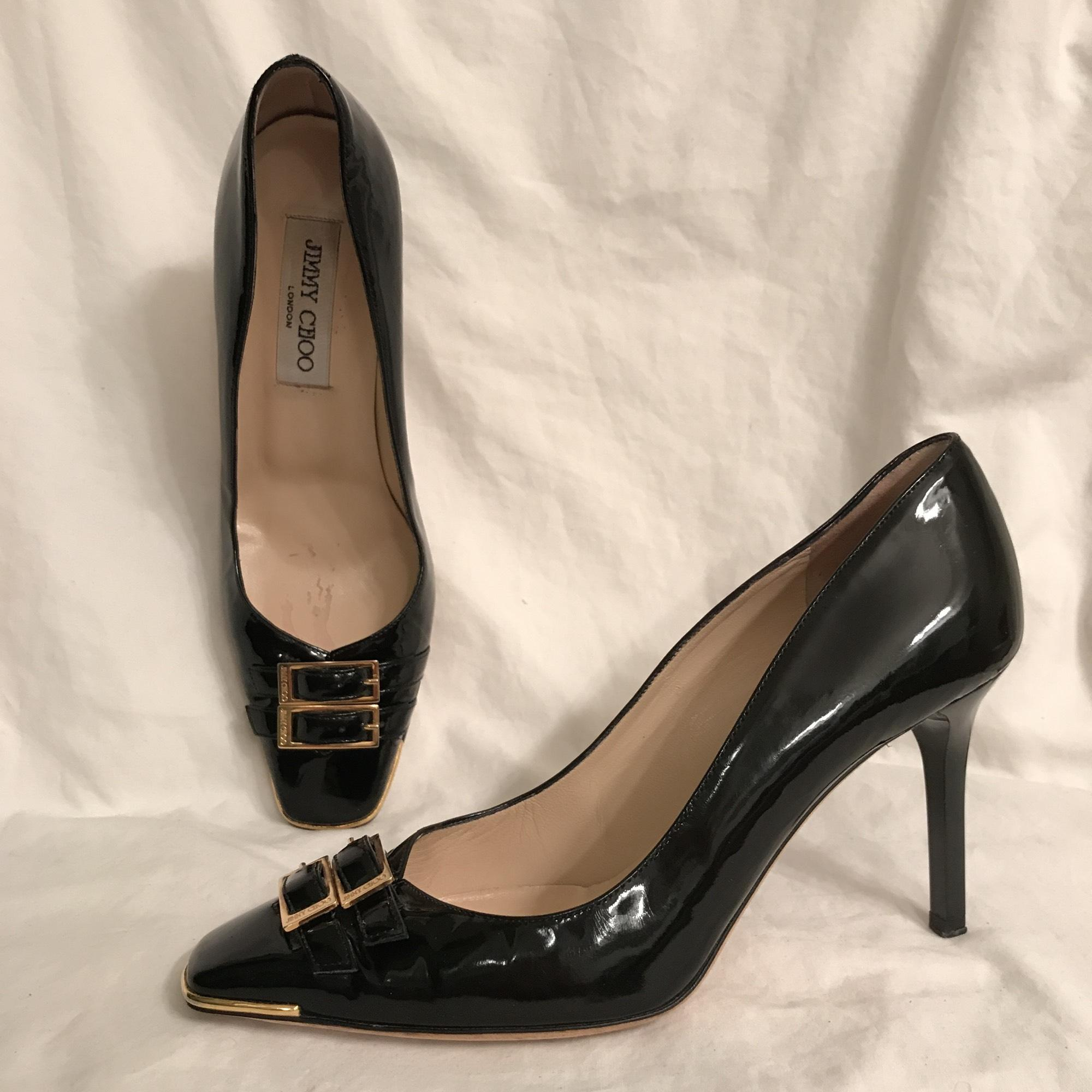 a9fc22ab64bd ... canada jimmy choo patent leather leather vintage classic designer black  gold pumps 0d48f 9330a