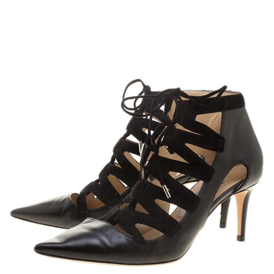 9c16bf6e634c ... Jimmy Choo Black Le545ather Le545ather Le545ather and Suede Dixon Cut  Out Pointed Siz Pumps Size EU ...