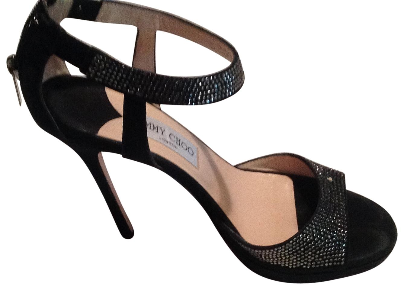 Jimmy Choo Black Strappy Sequin Sandals US 37.5 Formal Shoes Size US Sandals 7.5 832f75