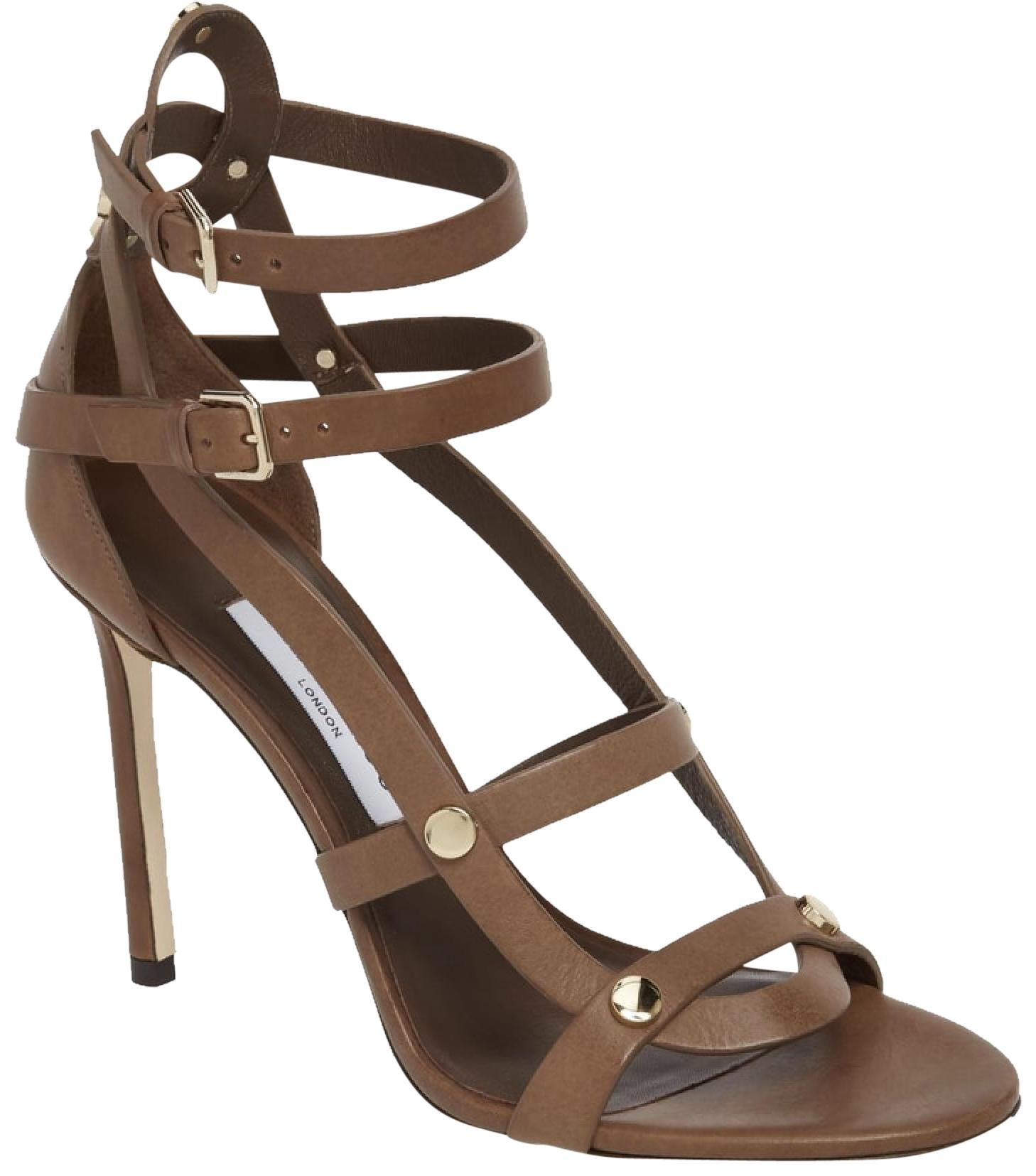 Jimmy Choo Brown Taupe Motoko Studded Cage Sandals Size EU 37.5 (Approx. US 7.5) Regular (M, B)