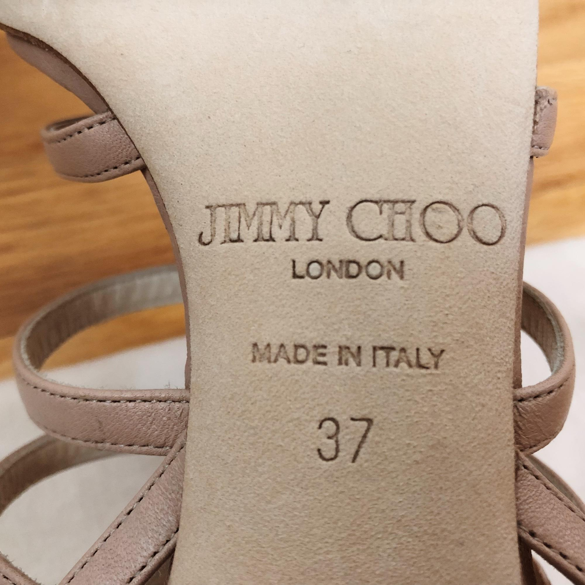 ab4c91e7b046 Jimmy Choo Caged Caged Caged Flower Pink Beige Sandals Size EU 37 (Approx.