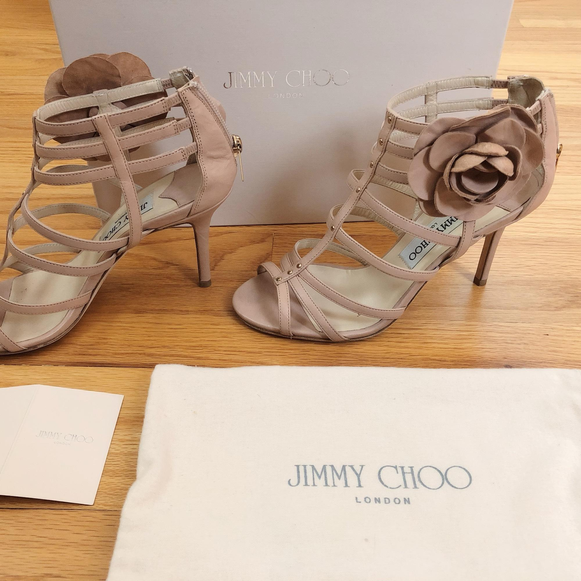 cecd259043622 (Approx Jimmy Choo Caged Flower Pink Beige Sandals Size EU 37 (Approx.