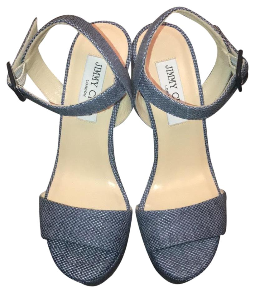 Jimmy Choo Denim Nico Wedges Size EU 37.5 (Approx. US 7.5) Regular (M, B)