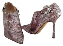 Jimmy Choo Snakeskin Leather Point Toes High Heels K Silver Boots