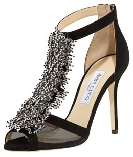 Jimmy Choo Feline Crystal Black Sandals