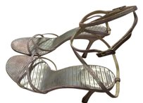 Jimmy Choo Leather Strappy Made In Italy silver and lilac Sandals