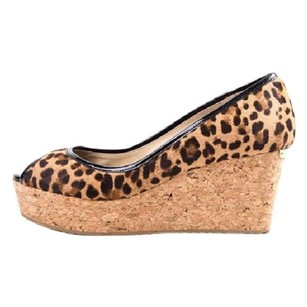 Jimmy Choo Leopard Pony Peep Toe animal print Wedges