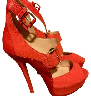 Jimmy Choo Coral * Orange Leather & Suede Leticia Platform Stiletto Heels * 40 Orange Platforms
