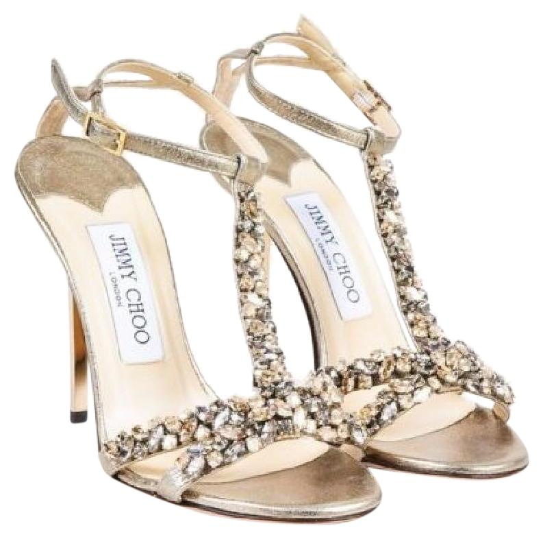 Jimmy Choo Metallic Champagne Gold Tayn Sandals Size US 6 Regular (M, B)