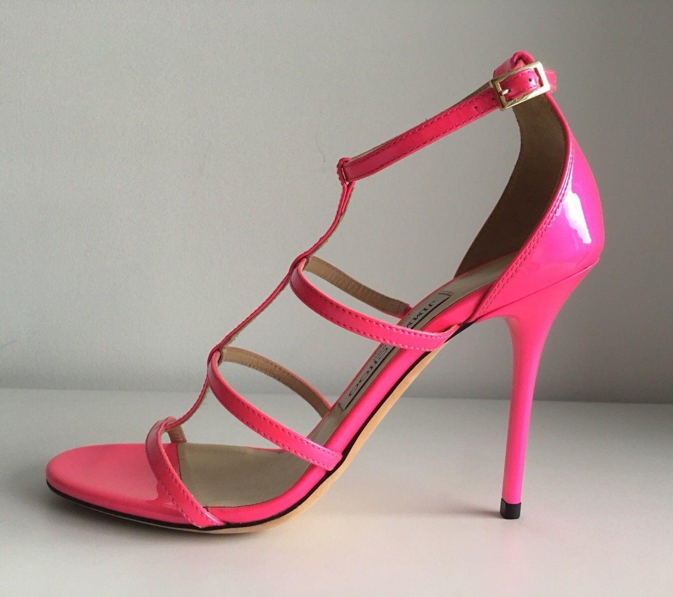 7b4ad69943bf ... Jimmy Choo Neon Pink Pink Pink Dory Patent Leather Cage Sandals Size EU  36 (Approx ...