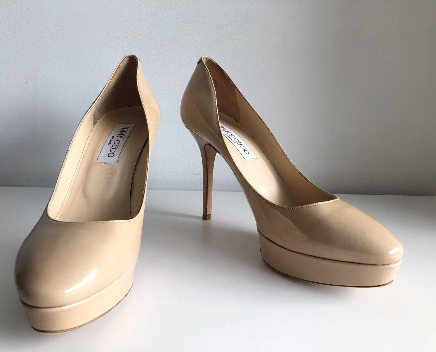 93de87cdf2b ... Jimmy Choo Nude Aster Patent Leather Low Ranger Ranger Ranger Platform Pumps  Size EU 39 ...