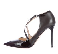 Jimmy Choo Patent Leather Ankle Strap Black Pumps