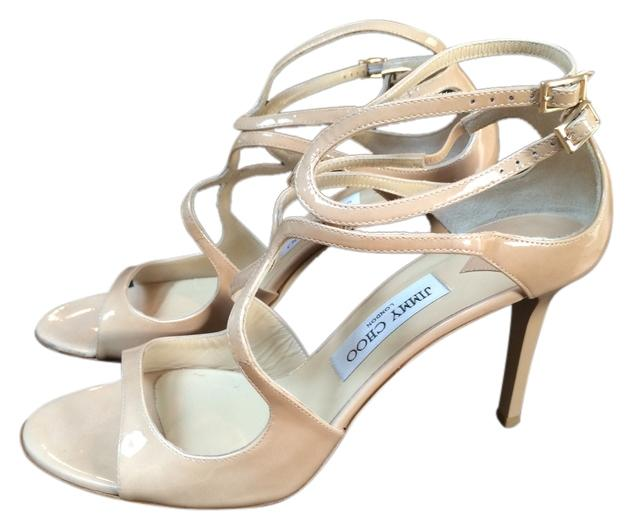 Jimmy Choo Patent Leather Nude Ivette Sandals Size US 10.5