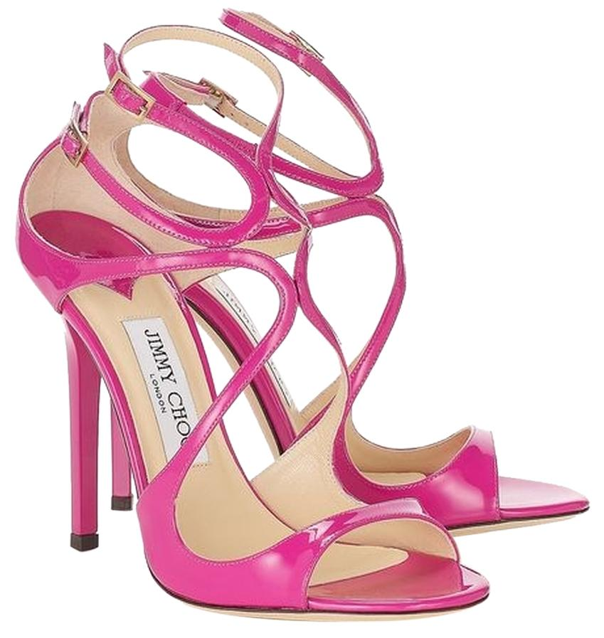 Jimmy Choo Pink Lang Raspberry Patent Leather Strappy Pink/Purple Sandals Size US 6 Regular (M, B)