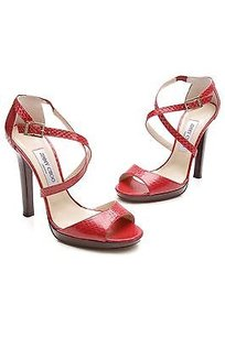 Jimmy Choo Snakeskin Red Sandals