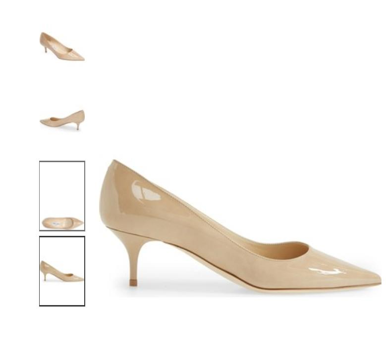 Jimmy Choo Nude Aza Kitten Heel Patent Leather Heel 38.5 Pumps ...