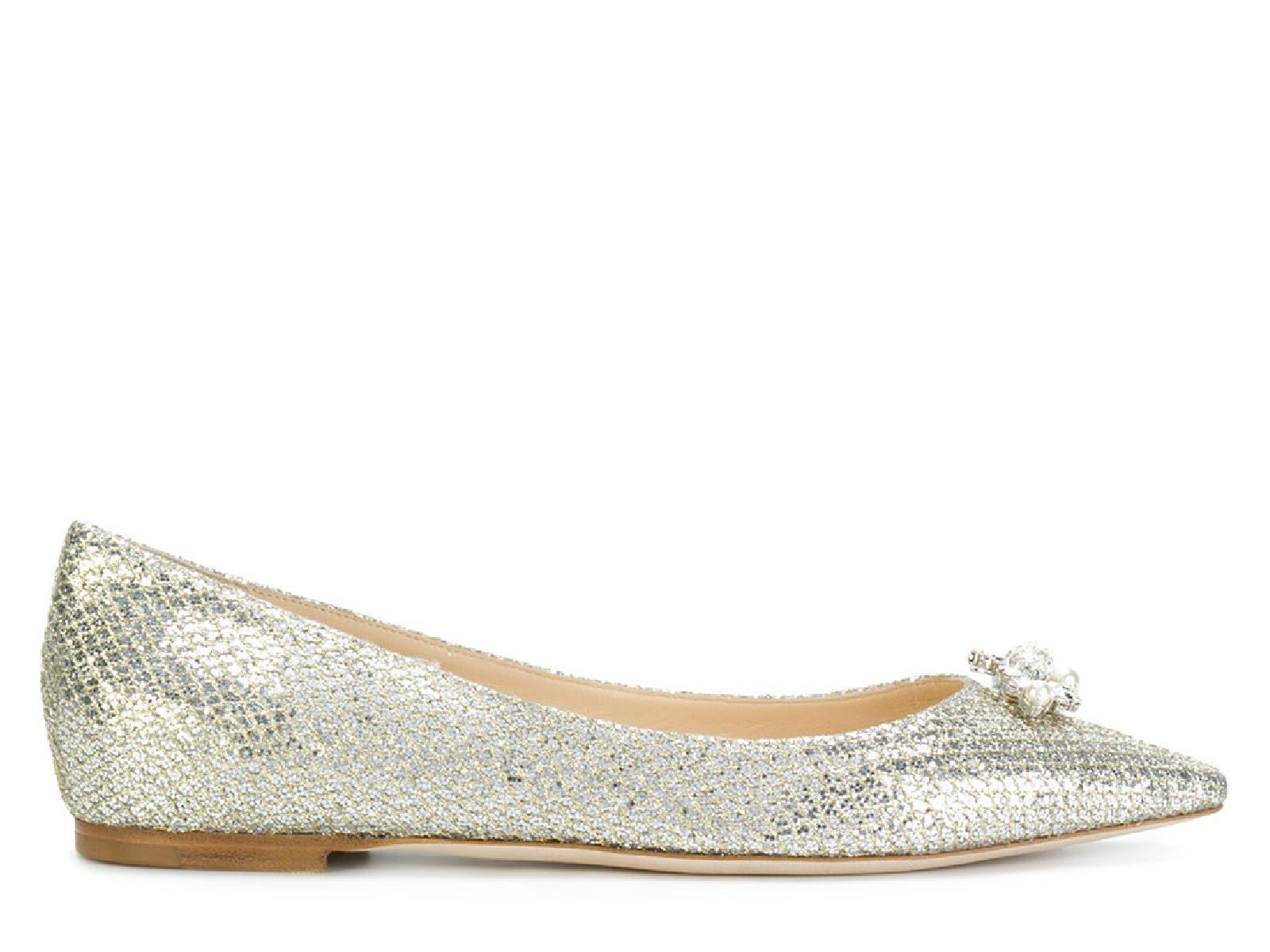 b374aa770d91 ... usa jimmy choo pointed toe ballerina in champagne leather flats eba1d  cc6e2