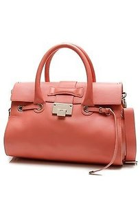 Jimmy Choo Pebbled Satchel in Coral
