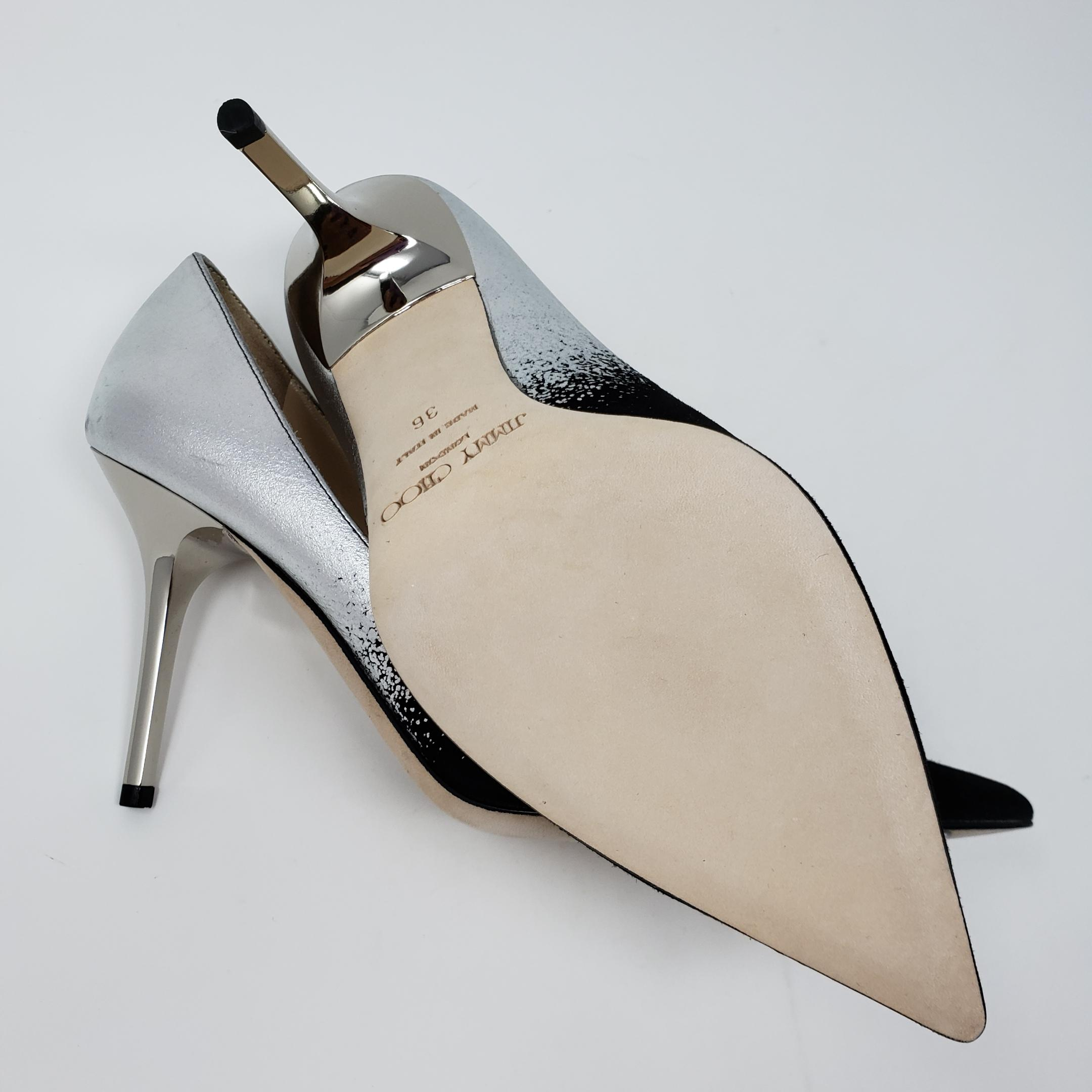 3d1c3f013ab5 ... Jimmy Choo Silver Silver Silver Black Leather Agnes Ombre Pointed-toe  Pumps Size EU 36 ...