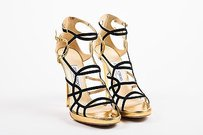 Jimmy Choo Black Leather Gold Sandals