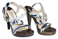 Jimmy Choo Blue White Printed Multi-Color Pumps
