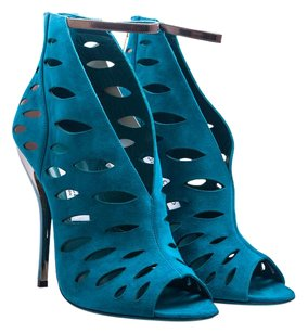Jimmy Choo Suede Sandal Heel Cut-out Teal Sandals