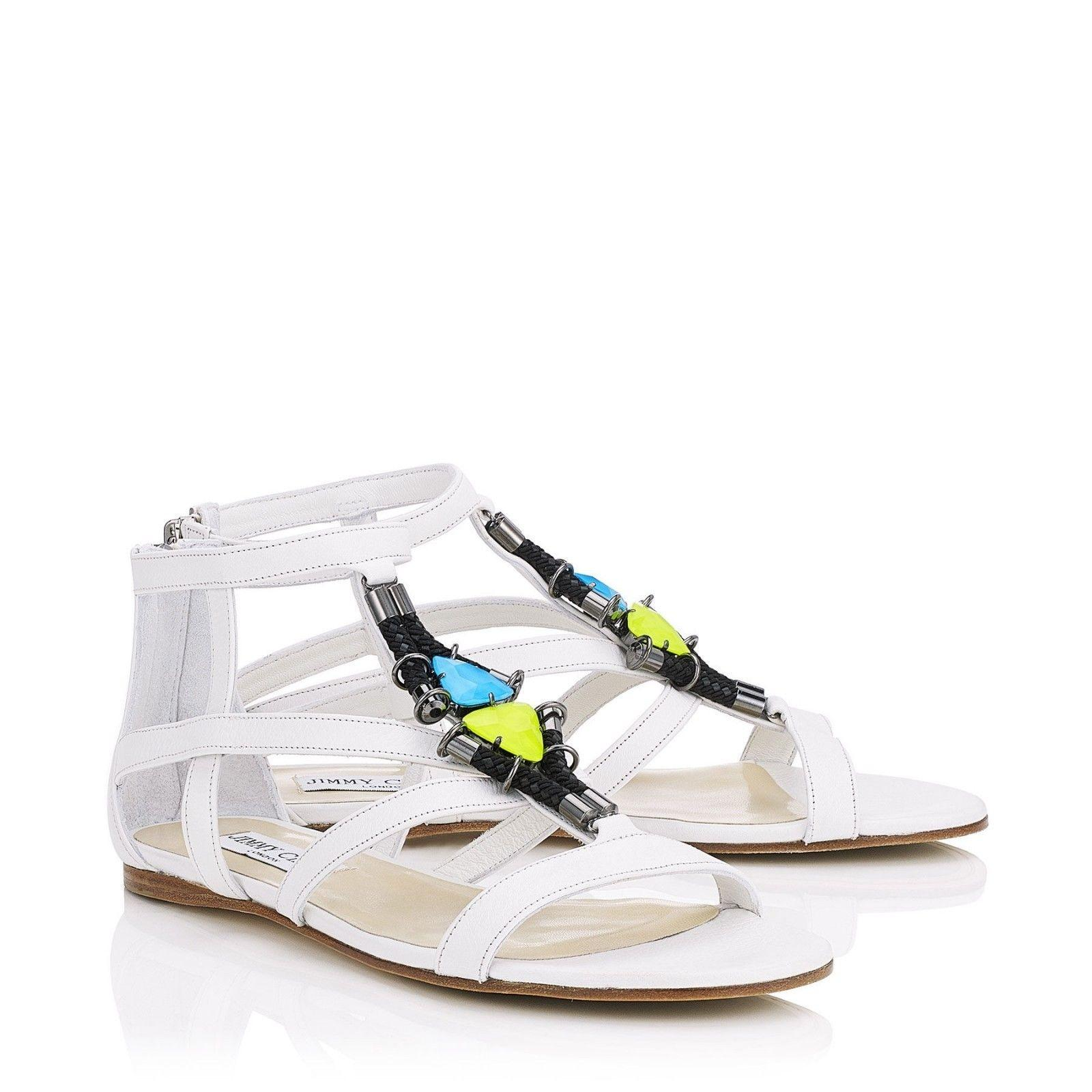 Jimmy Choo White Nano Optic Jeweled Cage Flats Gladiators Sandals Size EU 40 (Approx. US 10) Regular (M, B)
