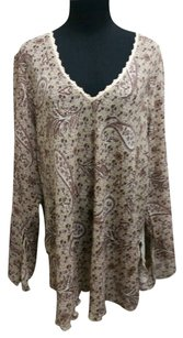 JKLA California Floral Lace Flowy Top Brown
