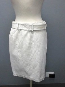 J.McLaughlin J Back Zip Belt Anabel Pique A Line Sma 2530 Skirt White