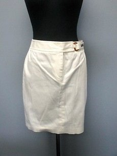 J.McLaughlin J Zip Front Solid Above Knee Casual Sma 5057 Skirt White