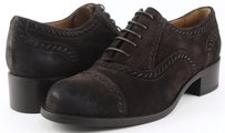 Joan & David Theora Oiled Suede Womens Designer Lace Up Oxfords 5.5 Brown Flats