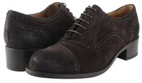 Joan & David Theora Oiled Suede Womens Designer Lace Up Oxfords Brown Flats
