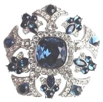 Joan Rivers Vintage Signed Joan Rivers Sapphire, Blue Cabochon, Crystal Brooch