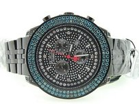 Joe Rodeo Mens Joe Rodeojojinojojo Black Platinum Blue Diamond Watch Crush Dial Ct.