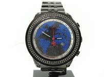 Joe Rodeo Mens Joe Rodeojojinojojo Black Platinum Diamond Watch Blue World Map 1.75 Ct.