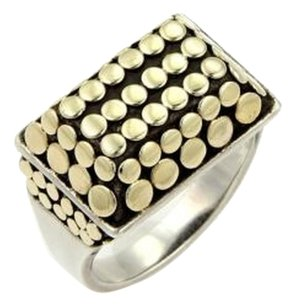 John Hardy John Hardy 18k Yellow Gold Sterling Silver Rectangular Top Dot Ring