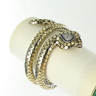 John Hardy John Hardy Bracelet Legends Cobra Double Coil 0.19cts Diamond 18k Gold 925