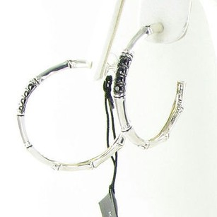 John Hardy John Hardy Bamboo Lava Hoop Earrings Black Sapphire Sterling