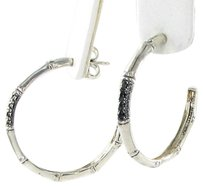 John Hardy John Hardy Bamboo Earrings Hoops Black Sapphire Sterling Silver