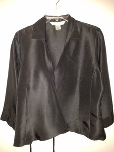 John Paul Richard Silk Wrap 3/4 Sleeve Office After Hours Top Black