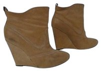 Joie Camel Leather Wedge Heel Round Toe Casual Ankle B1481 Brown Boots